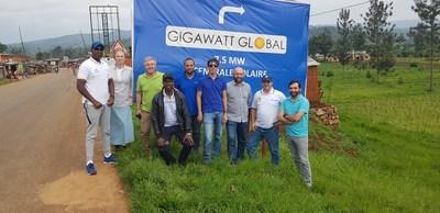 Patrick Nzitunga, Gigawatt Global project director in Burundi, near Mubuga, the site of Gigawatt Global's 7.5 MW solar field now under construction, with members of the Gigawatt and Voltalia teams, on January 27, 2020. (PRNewsfoto/Gigawatt Global)