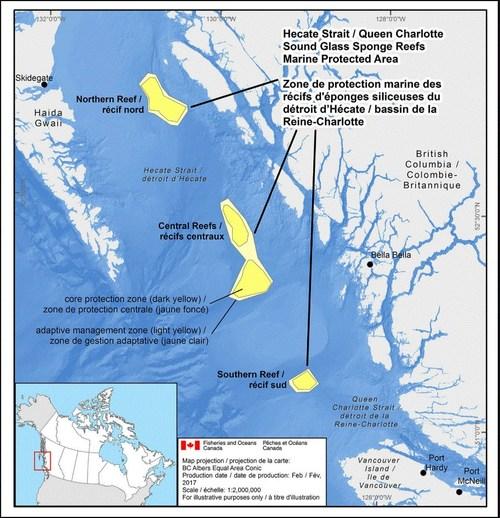Carte de la zone de protection marine des récifs d'éponges siliceuses du détroit d'Hecate et du bassin de la Reine-Charlotte présentée en preuve devant le tribunal (Groupe CNW/Pêches et Océans Canada, Région du Pacifique)