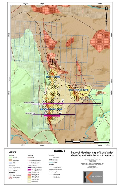 Figure 1 – Plan with Geology and Section Locations (CNW Group/Kore Mining)