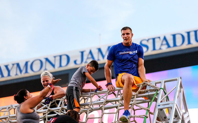 Stadium Blitz Owner and Partner, Rob Gronkowski competes alongside Stadium Blitz participants at an event held earlier this year.