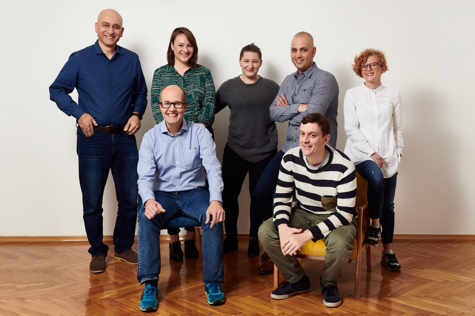 The Codility Executive Team. From left to right, back row: Yishai Cohen, Rachel Whitehead, Natalia Panowicz, Roy Solomon, Patrycja Szostakowska. Front row: Jeroen Domensino, John Bailey.