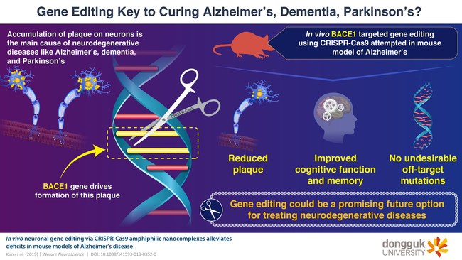 Treating Alzheimer's disease with the help of gene editing tool CRISPR-Cas9
