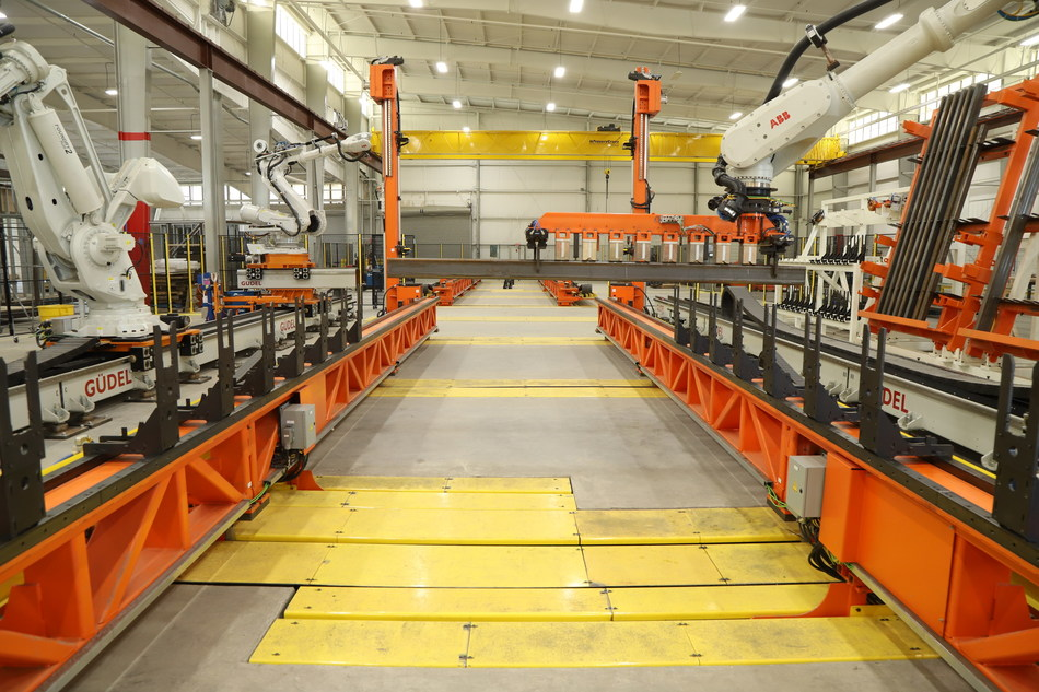 Robotics at Z Modular's Killeen facility place and weld HSS to form steel module frames.