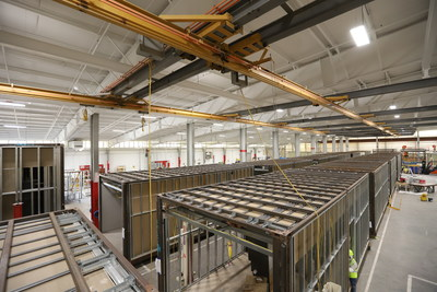 Steel-framed modules at Z Modular's Killeen facility move through the production line from fabrication to finishing before being shipped directly to the construction site.