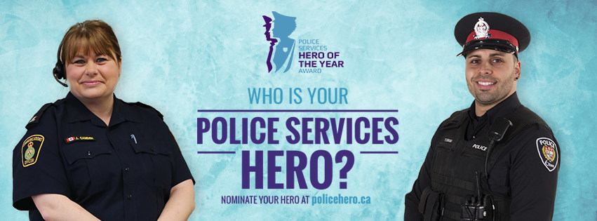 Police Services Hero of the Year awards banner with 9-1-1 dispatcher and police officer (CNW Group/Police Association of Ontario)