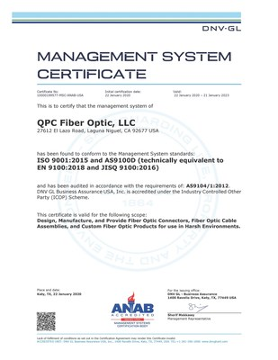 QPC Fiber Optic achieves ISO 9001:2015 and AS9100D:2016 Certification