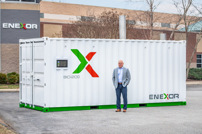 Lee Jestings, Enexor BioEnergy Founder and CEO, and the Bio-200 at Franklin,TN headquarters.
