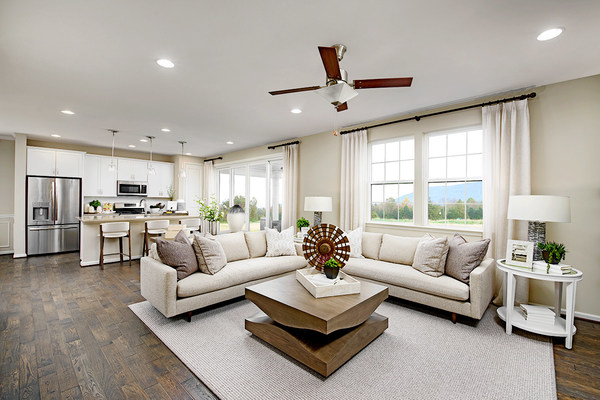 Great room in the Pearl floor plan