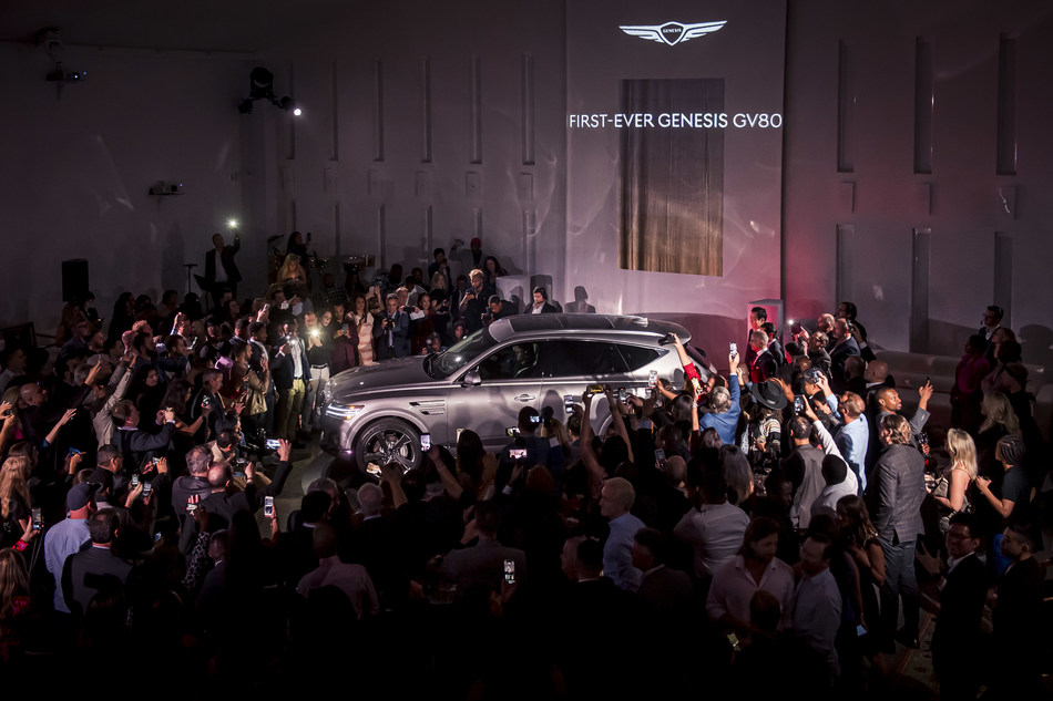 Genesis' first-ever SUV, the flagship 2021 GV80 SUV, at its North American reveal in Miami, January 28, 2020.