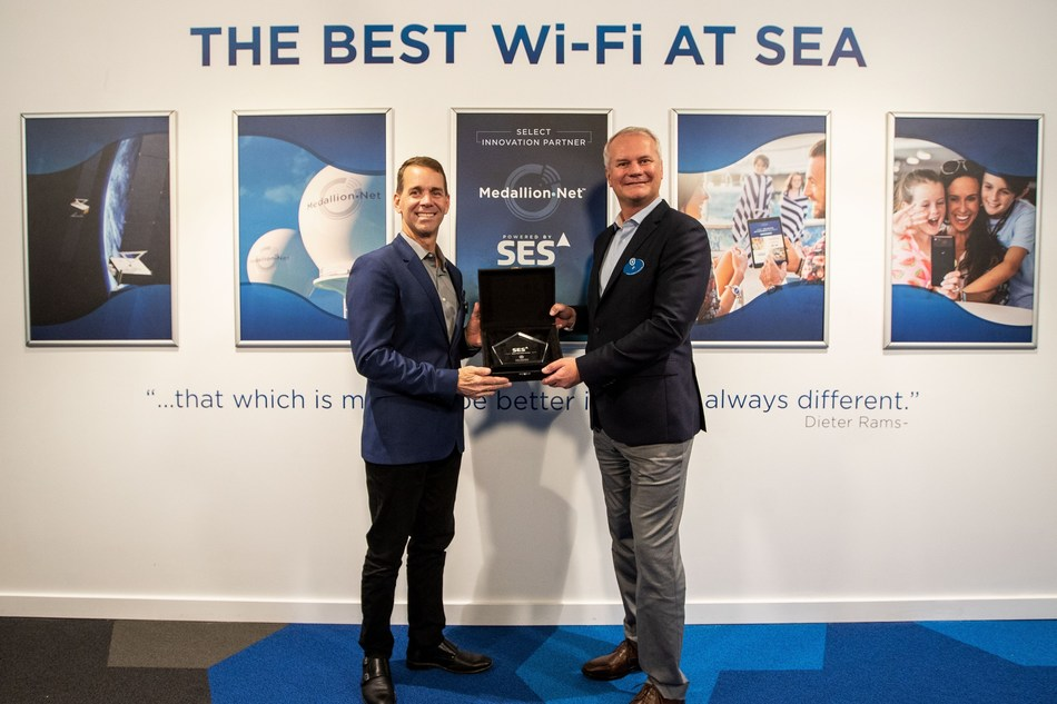 John Padgett (left), chief experience and innovation officer for Carnival Corporation, and JP Hemingway, CEO of SES Networks.