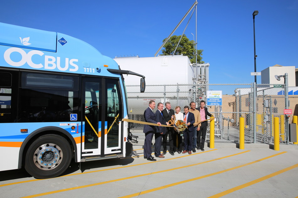 State and local transportation officials from the Orange County Transportation Authority cut the ribbon on a new hydrogen fueling station, the largest in the nation for a transit agency, on Friday, Jan. 31. OCTA also unveiled a fleet of 10 fuel cell zero-emission buses. Photo courtesy of OCTA.