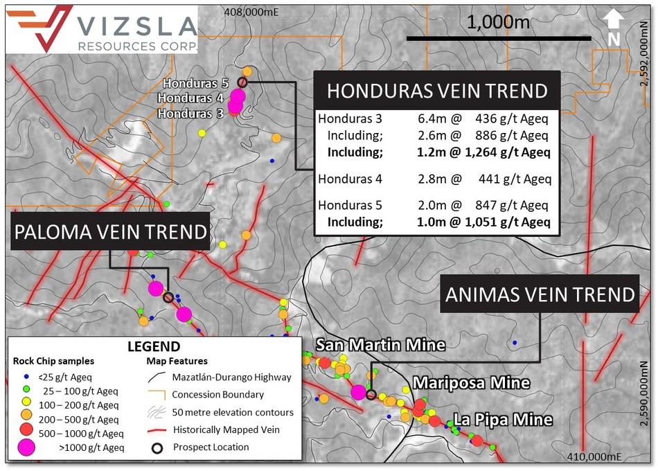Figure 1: Plan map showing locations of the Honduras Vein and surface sampling (CNW Group/Vizsla Resources Corp.)