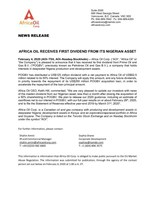 Africa Oil Receives First Dividend from its Nigerian Asset (CNW Group/Africa Oil Corp.)