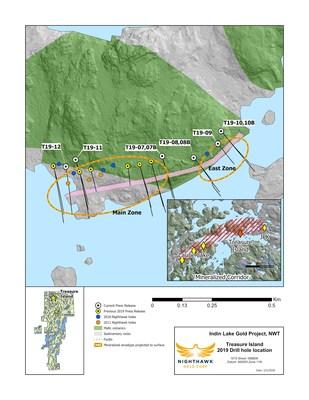 Figure 1.  Plan View (Treasure Island) - Drillhole Locations (CNW Group/Nighthawk Gold Corp.)
