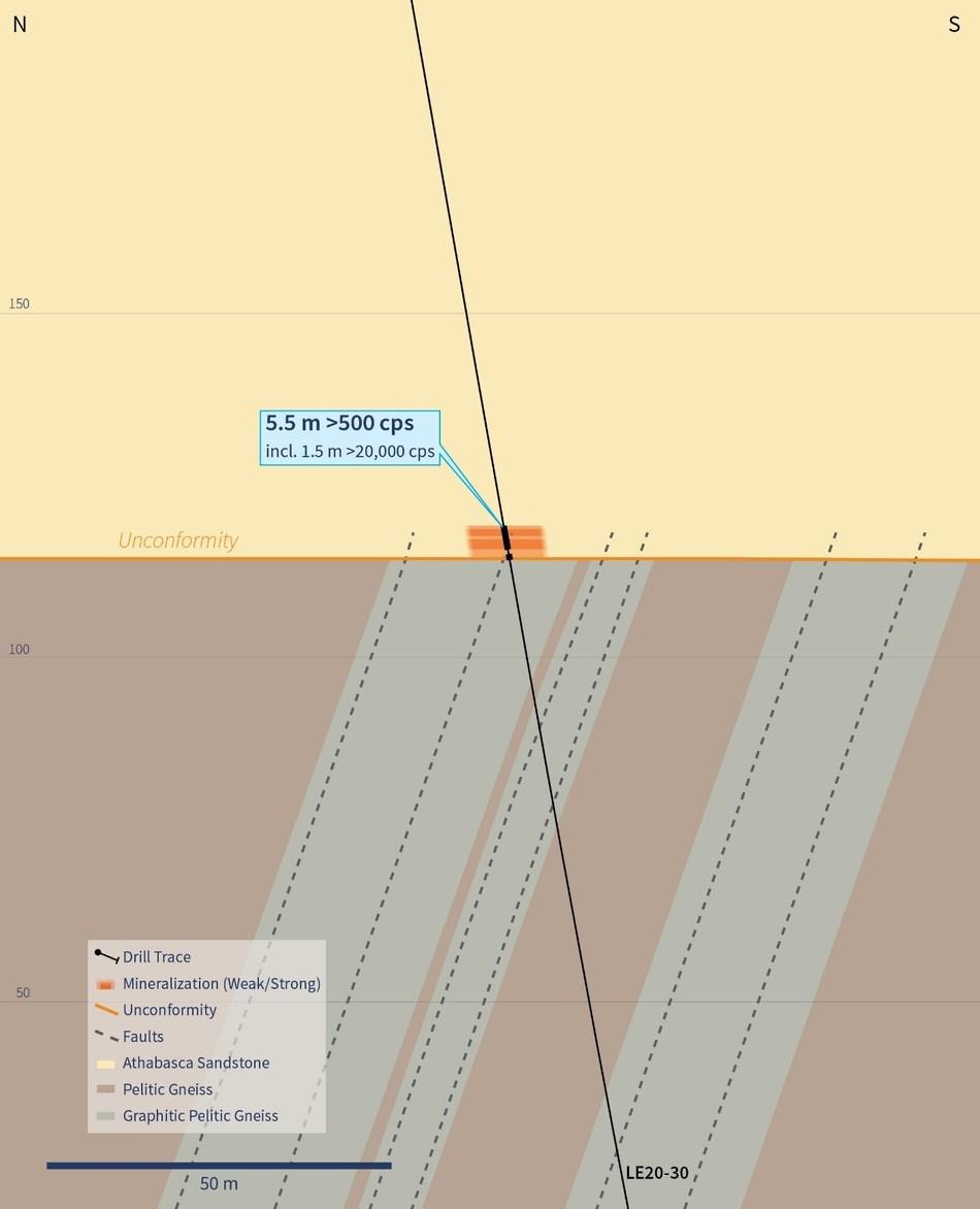 Figure 4 – Vertical Cross-Section 4460E (Looking East) (CNW Group/IsoEnergy Ltd.)