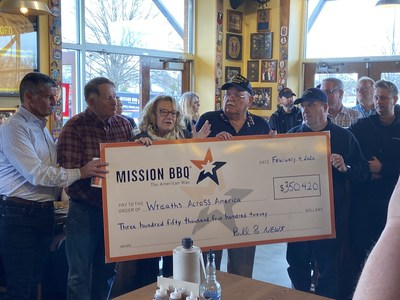 """MISSION BBQ Founders Bill Kraus (far left) and Stephen """"Newt"""" Newton (far right) presented at check for $350,420 to Wreaths Across America today at their Glen Burnie, MD restaurant. WAA Founder Morrill Worcester, Executive Director Karen Worcester and Chairman of the Board Wayne Hanson were there to accept this generous contribution that supports the year-long mission to REMEMBER. HONOR. TEACH."""