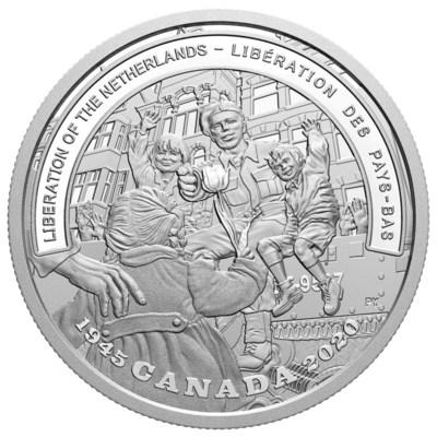 Moeda de prata fina para colecionadores da Casa da Moeda Real Canadense celebrando o 75o aniversário da Libertação dos Países Baixos (CNW Group/Royal Canadian Mint)
