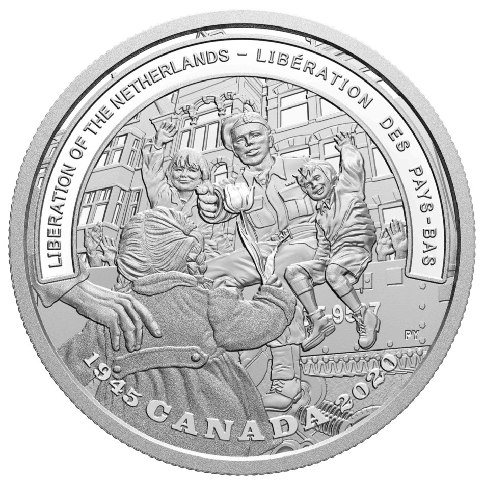 The Royal Canadian Mint's fine silver collector coin celebrating the 75th anniversary of the Liberation of the Netherlands