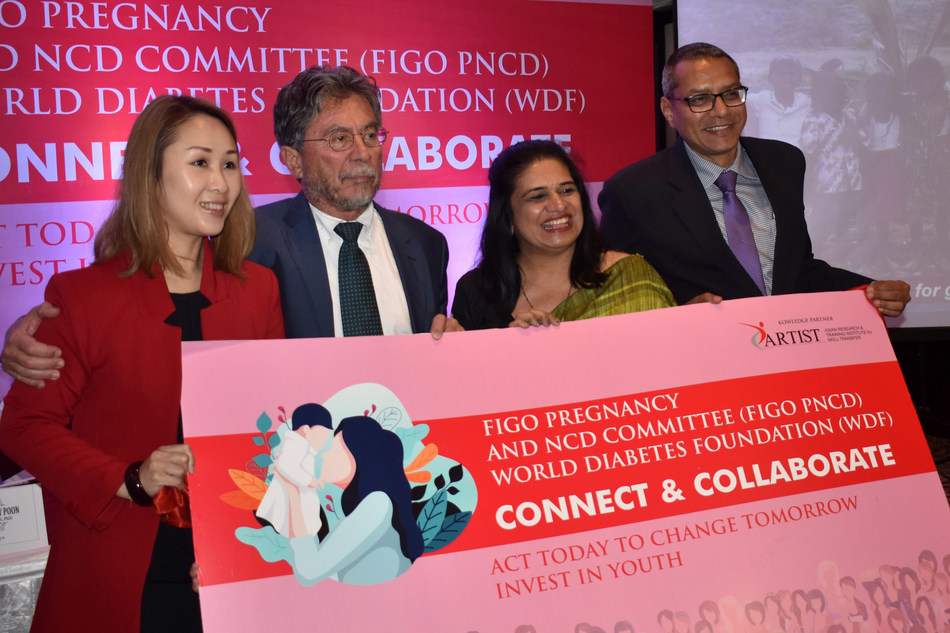 FIGO along with WDF Connect & Collaborate Initiative. (Left to Right) Dr. LIONA C Y POON, Member – PNCDC, FIGO; Dr. MOSHE HOD, Chair – PNCDC, FIGO; Dr. HEMA DIVAKAR, Vice Chair – PNCDC, FIGO; Dr. RAJESH JAIN, collaborator WDF.FIGO NCDs Co-Chairs from India, Israel & china along with WDF UP in charge launched from Varanasi, India the Fit India Movement and Preventive Healthcare strategies to tackle Anemia & Diabetes.