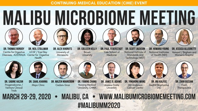 The Malibu Microbiome Meeting (March 28-29, 2020) is a CME event joining physicians, government, and industry on the latest in microbiome research, discoveries, and news. Register at www.MalibuMicrobiomeMeeting.com