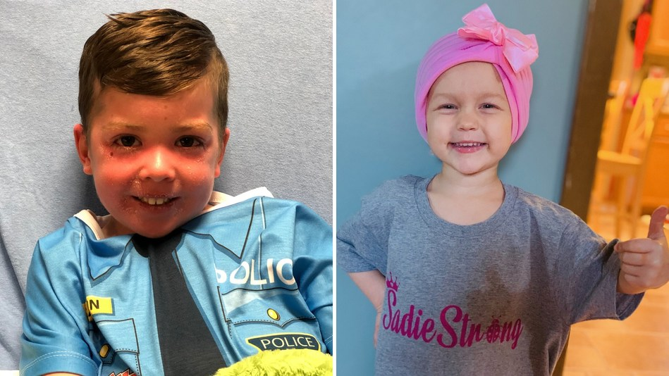 The families of 4-year-old Beckett Burge (L) from Princeton, TX and 3-year-old Sadie Kreinbrink of Ostrander, OH (R) are receiving a total of $78,250 from the sales of rifles donated by Henry Repeating Arms.