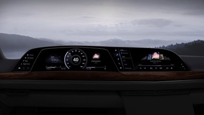 The just-unveiled 2021 Cadillac Escalade features P-OLED technology from LG Electronics, marking the first-ever use of a curved OLED display in a production vehicle.