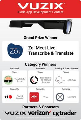 Vuzix Blade App Development Contest Winners