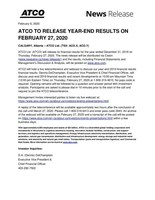 ATCO Q4-2019 Pre-earnings (CNW Group/ATCO Ltd.)