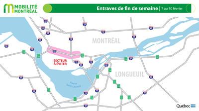 Carte générale des entraves, fin de semaine du 7 février (Groupe CNW/Ministère des Transports)