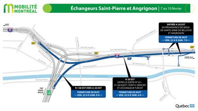 Échangeurs Saint-Pierre et Angrignon, fin de semaine du 7 février (Groupe CNW/Ministère des Transports)