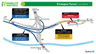 Échangeur Turcot, fin de semaine du 7 février (Groupe CNW/Ministère des Transports)