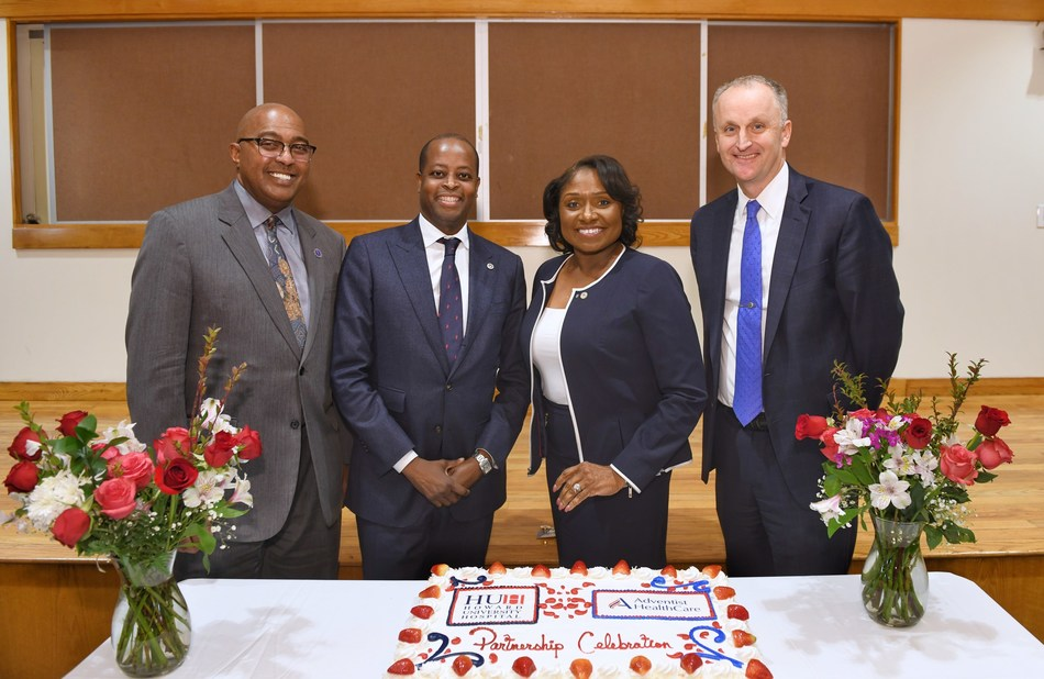 Adventist HealthCare and Howard University, which operates Howard University Hospital, announced today that the two organizations have signed a three-year management services agreement. Pictured: Dr. Hugh E. Mighty, dean of College of Medicine; Dr. Wayne A. I. Frederick, Howard University president; Anita L. A. Jenkins, Howard University Hospital CEO; and Terry Forde, president & CEO of Adventist HealthCare.