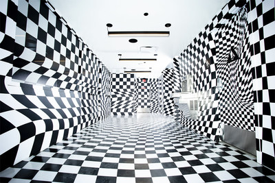 Checkerboard room inside the new Vans DTLA store.