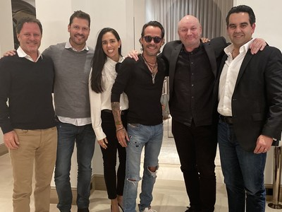 Left to right. (Gaston Goreli, Felipe Pimiento, Carla Curiel, Marc Anthony, Juan José Campanella, Roberto Castro) Photo Credit: Magnus Studios