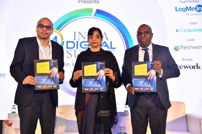 From left to right: Milan Sheth - Executive Vice President, IMEA, Automation Anywhere, Aruna Sundararajan - former Secretary, Department of Telecom (DOT), Kamalanand Nithianandan - Partner, Advisory Services, EY India