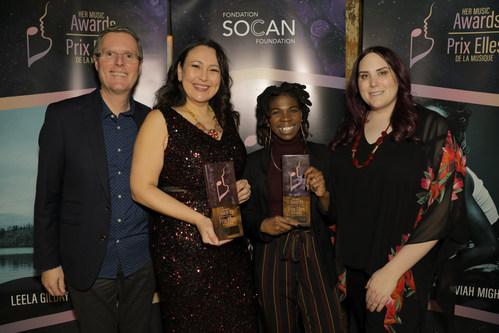 From left to right : Eric Baptiste, SOCAN Chief Executive Officer; Leela Gilday, award winner; Haviah Mighty, award winner; Charlie Wall-Andrews, SOCAN Foundation Executive Director (CNW Group/SOCAN)