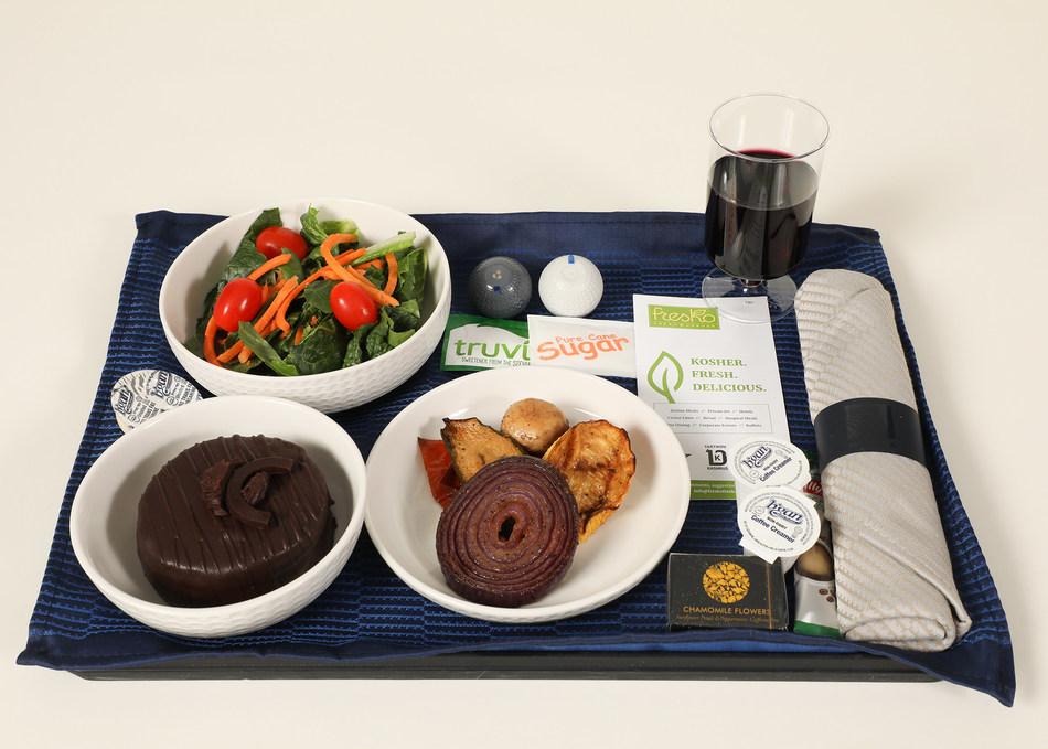 New United Airlines Kosher dinner option on Newark to Tel Aviv in Polaris with Kosher wine.