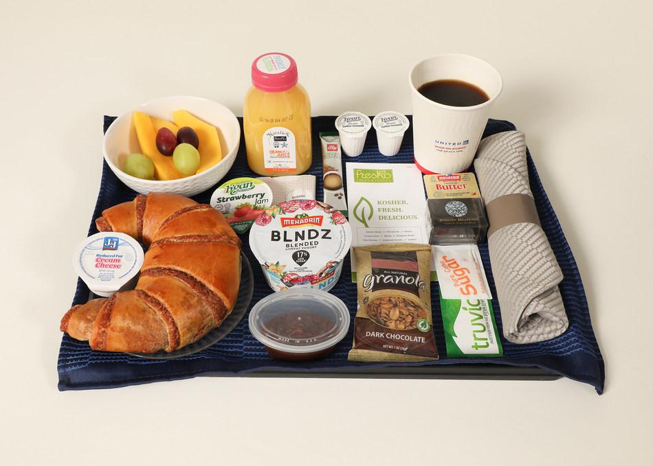 New United Airlines Kosher breakfast option on Newark to Tel Aviv in Polaris.