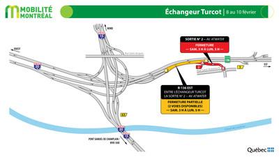 Échangeur Turcot | 8 au 10 février (Groupe CNW/Ministère des Transports)