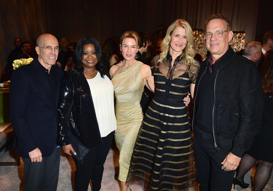 "(L-R) Jeffrey Katzenberg, Octavia Spencer, Renée Zellweger, Laura Dern, and Tom Hanks attend MPTF's 18th Annual ""Night Before"" Party on February 08, 2020 in Los Angeles, California. (Photo by George Pimentel/Getty Images for MPTF)"