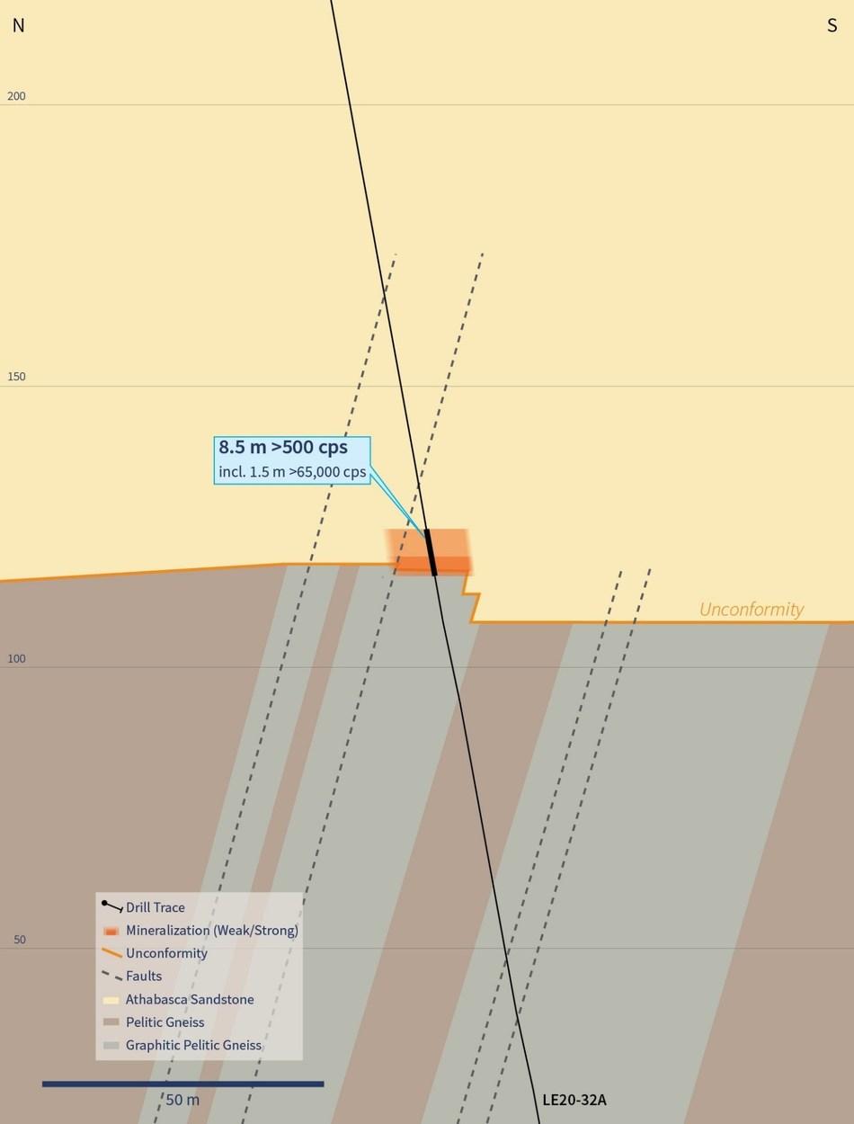 Figure 5 – Cross Section 4510E (Drill Hole LE20-32A) (CNW Group/IsoEnergy Ltd.)