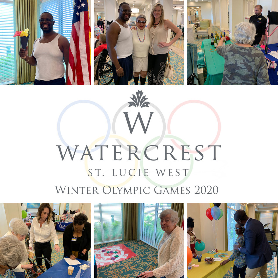 Residents of Watercrest St. Lucie West Assisted Living and Memory Care enjoyed friendly competition and celebration participating in the Watercrest 2020 Winter Olympic Games.