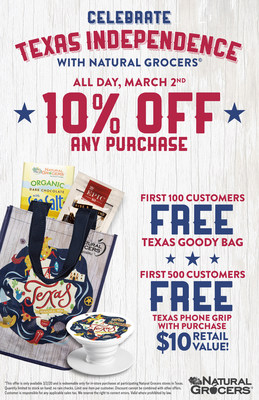 Celebrate Texas Independence Day with Natural Grocers! Shop with a store-wide 10% discount, free reusable bags, free chocolate bars and Epic bars, and free smart phone grips