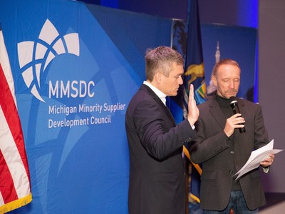 On Feb. 7, 2020, Oakland County Executive David Coulter (right) swore in FCA North America Head of Purchasing and Supply Chain Management Scott Thiele (left) as Chairman of the Board for the Michigan Minority Supplier Development Council (MMSDC) for the next two years, leading the group's efforts to advance opportunities for minority-owned businesses.