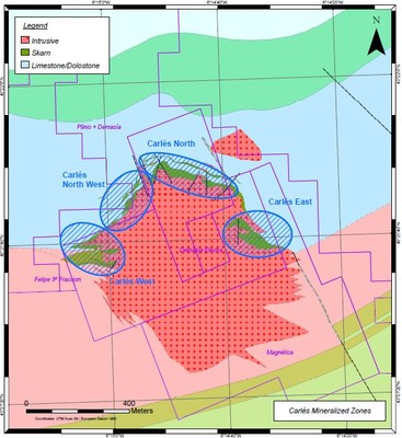 Figure 2: Carlés Mineralized zones (CNW Group/Orvana Minerals Corp.)