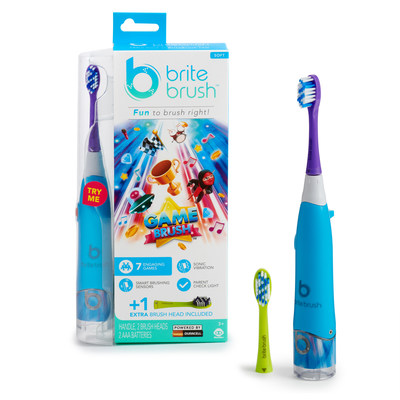 Introducing BriteBrush(TM) by WowWee. The new, smart toothbrush that makes it fun for kids to brush right...Right out of the box! Pictured: BriteBrush GameBrush