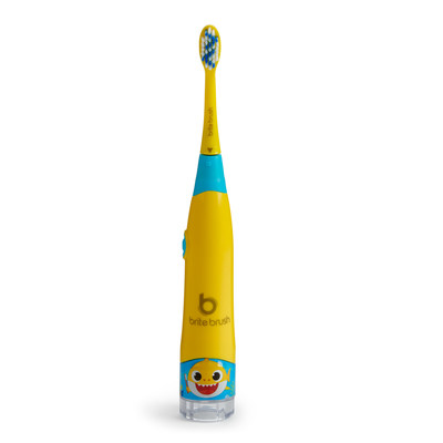 Introducing BriteBrush(TM) by WowWee. The new, smart toothbrush that makes it fun for kids to brush right...Right out of the box! Pictured: BriteBrush Pinkfong Baby Shark