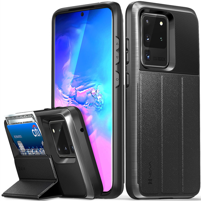 The Vena vCommute case blends rugged functionality with practical features including hidden card slots and a multi-angle stand, all within a slim profile.