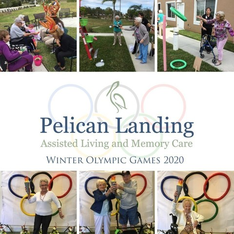 Residents, family and associates join together in fun and festive competition at the Pelican Landing 2020 Winter Olympic Games at Pelican Landing Assisted Living and Memory Care in Sebastian, Fla.