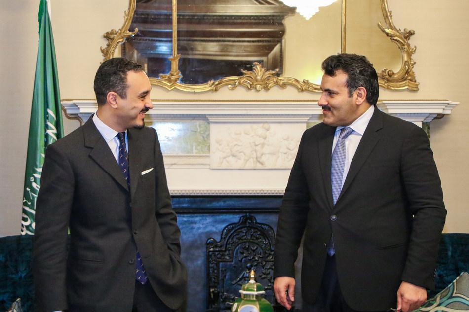 Saudi Ambassador to the UK HRH Prince Khalid bin Bandar Al Saud (left) with Saudi Ambassador to Yemen and Supervisor-General of the Saudi Development and Reconstruction Program for Yemen (SDRPY) Mohammed bin Saeed Al Jabir at the Royal Embassy of Saudi Arabia in London